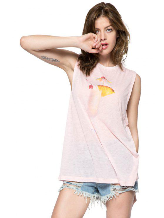 shops Drink Print Round Collar Tank Top - PINK S