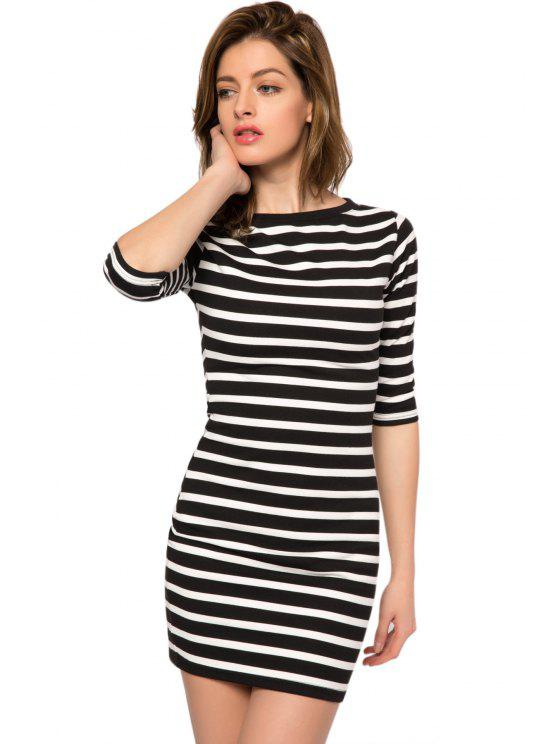 fancy Striped 3/4 Sleeve Bodycon Dress - STRIPE XS