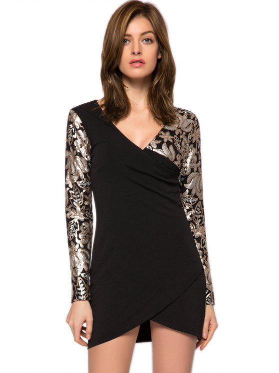 ladies Sequins Floral Plunging Neck Dress - BLACK XS