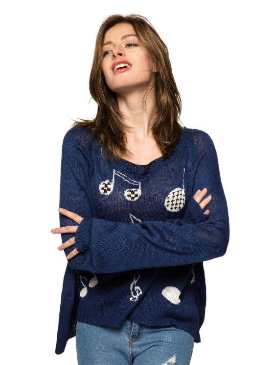 new Musical Note Pattern Long Sleeve Sweater - DEEP BLUE S
