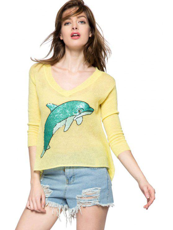 outfits Dolphin Pattern 3/4 Sleeve Sweater - YELLOW M