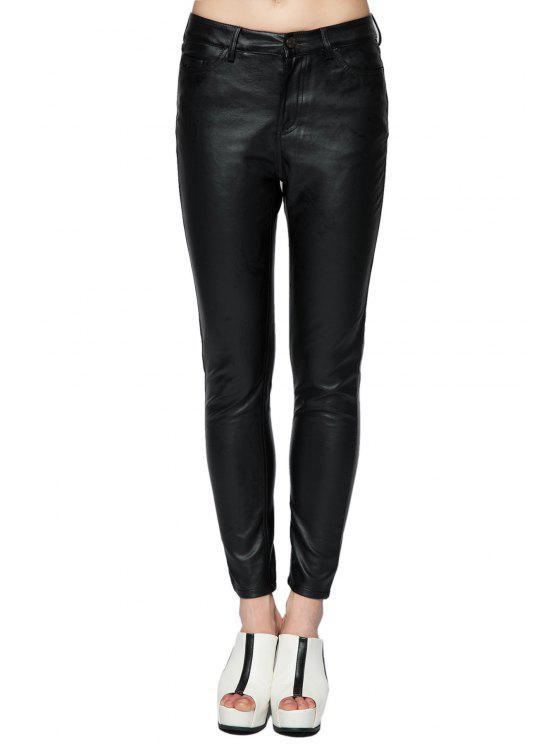 women Fuax Leather Narrow Feet Pants - BLACK 40