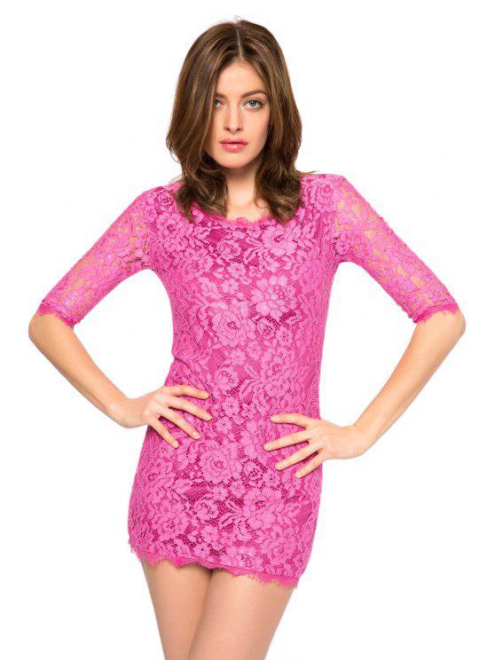 women Solid Color 3/4 Sleeve Lace Dress - PURPLE 2XL