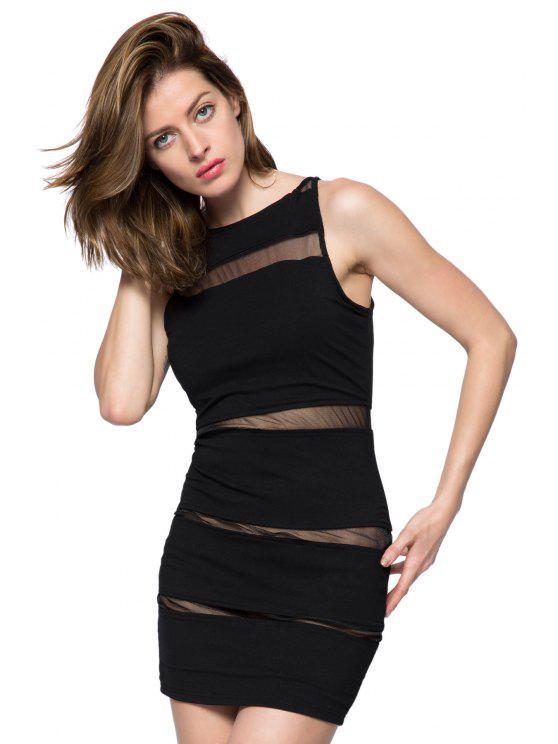 lady Voile Splicing Sleeveless Bodycon Dress - BLACK XS