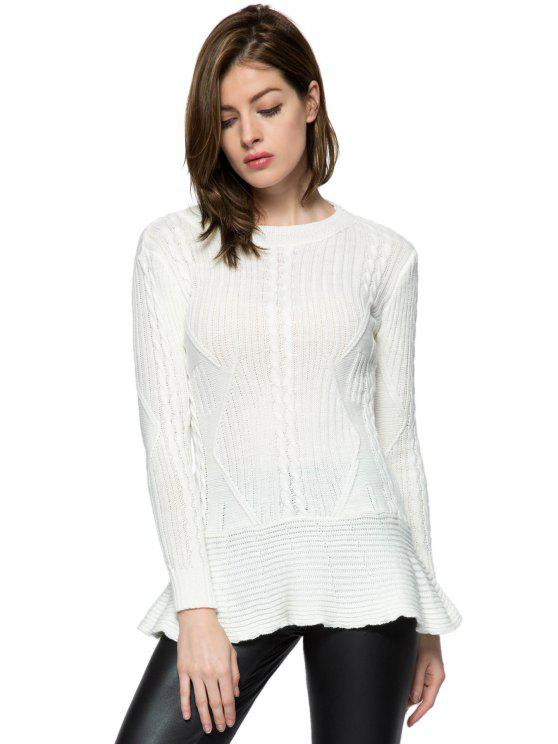 chic Ruffles Splicing Solid Color Sweater - WHITE S
