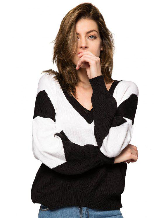 trendy Plunging Neck Color Block Sweater - WHITE AND BLACK XS