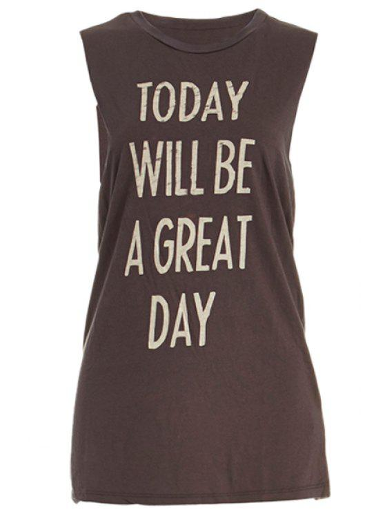 lady Letter Print Jewel Neck Tank Top - DUN S