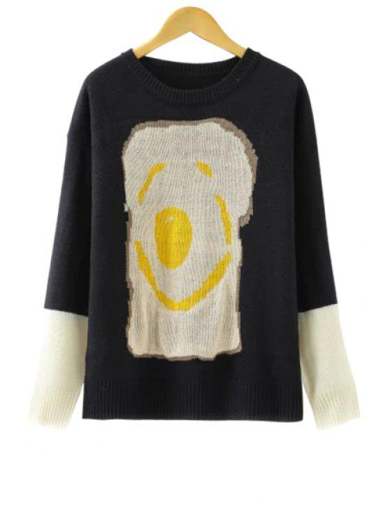 chic Bread Pattern Long Sleeve Sweater - BLACK ONE SIZE(FIT SIZE XS TO M)
