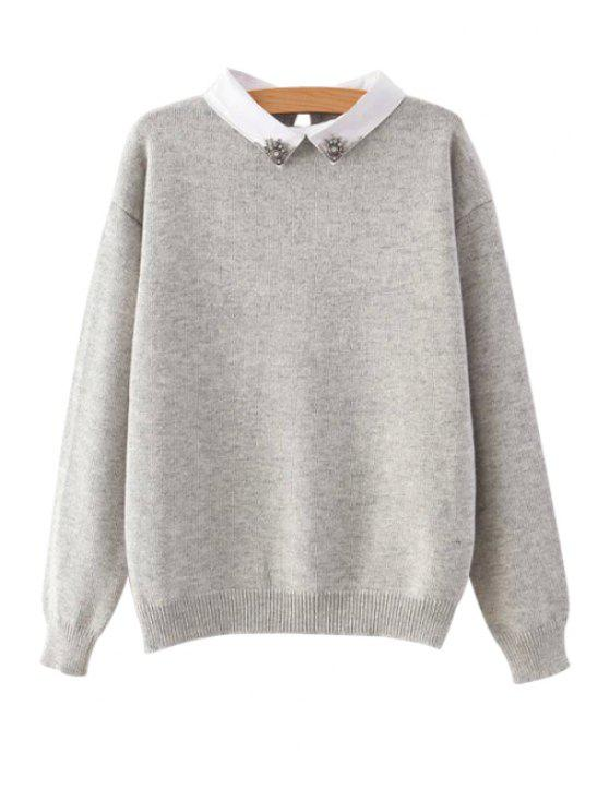 unique Turn-Down Collar Rhinestone Sweater - GRAY ONE SIZE(FIT SIZE XS TO M)