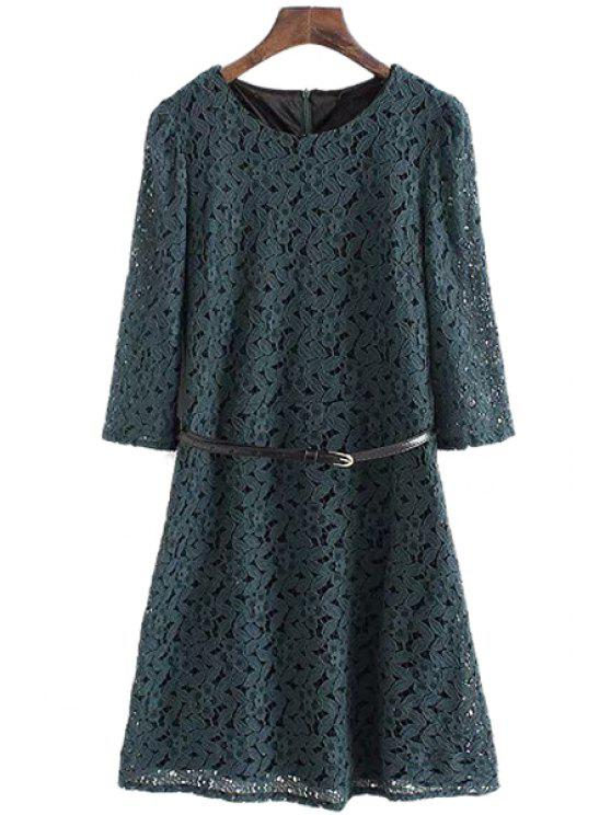 new Half Sleeve Solid Color Lace Dress - GREEN L