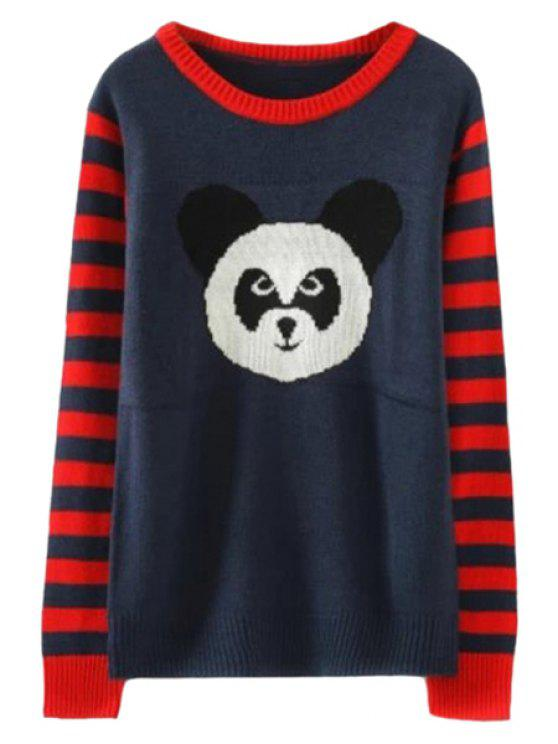 lady Panda Pattern Striped Sweater - BLUE AND RED ONE SIZE(FIT SIZE XS TO M)
