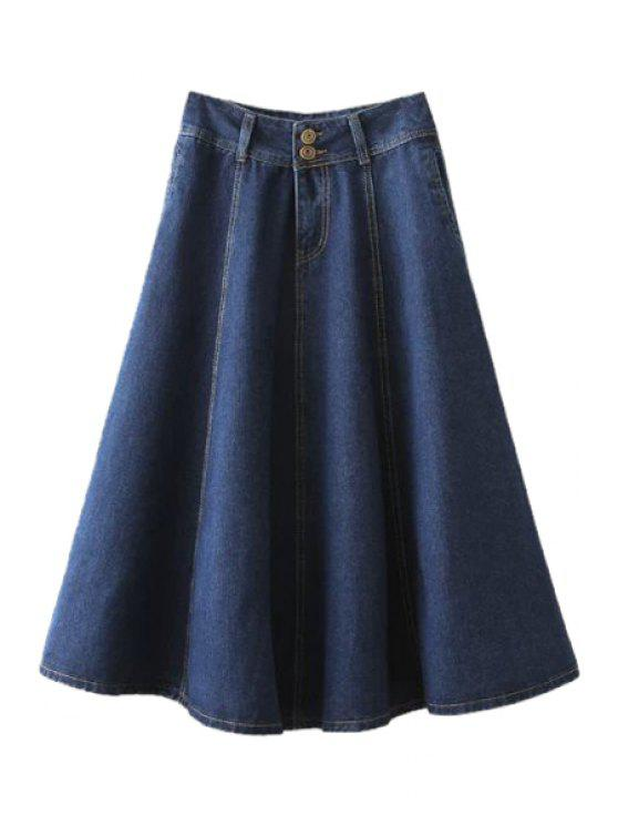 fancy Solid Color A-Line Denim Skirt - BLUE S