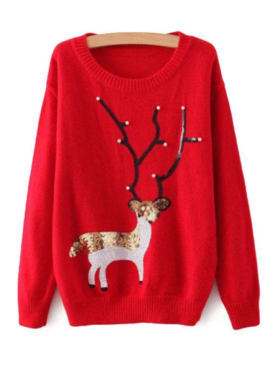 fashion Sequins Deer Pattern Sweater - RED ONE SIZE(FIT SIZE XS TO M)