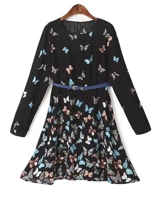 fancy Long Sleeve Full Butterfly Print Dress - BLACK S