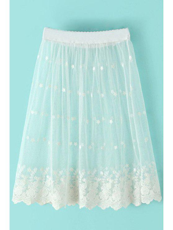 women Lace Floral Embroidery Skirt - WHITE ONE SIZE(FIT SIZE XS TO M)