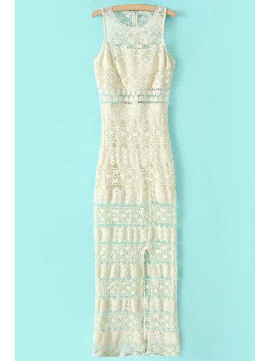 shop Lace Side Slit Sleeveless Dress - WHITE L