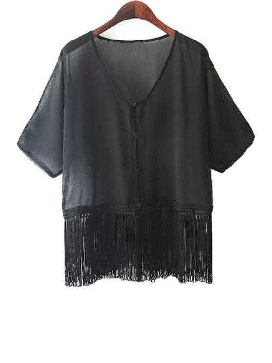affordable Short Sleeve Fringe Splicing Blouse - BLACK S