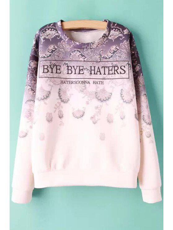 latest Letters Pattern Jewel Neck Sweatshirt - PINK AND PURPLE S
