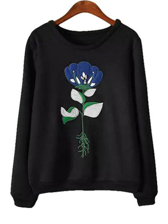 fancy Floral Embroidery Long Sleeves Sweatshirt - BLACK S