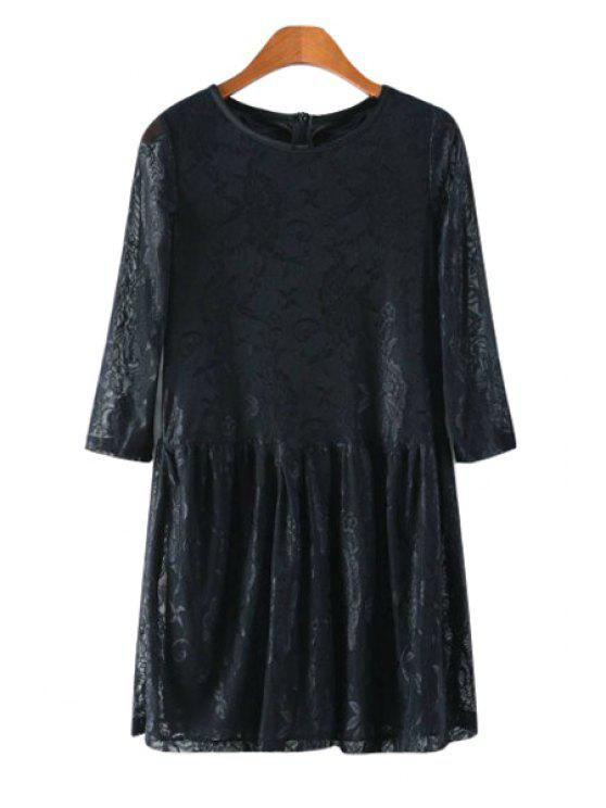 shops Solid Color Lace 3/4 Sleeve Dress - BLACK S