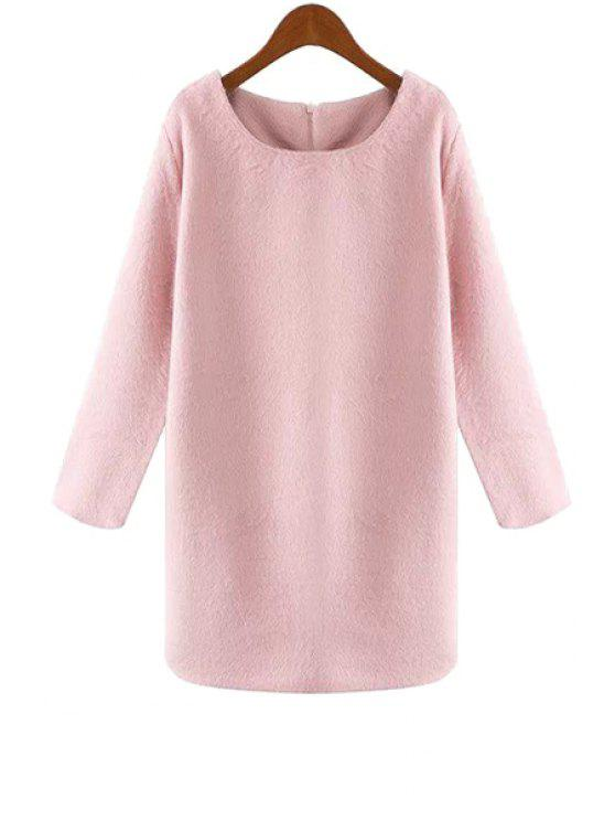 women's Pink Long Sleeve Worsted Dress - PINK S