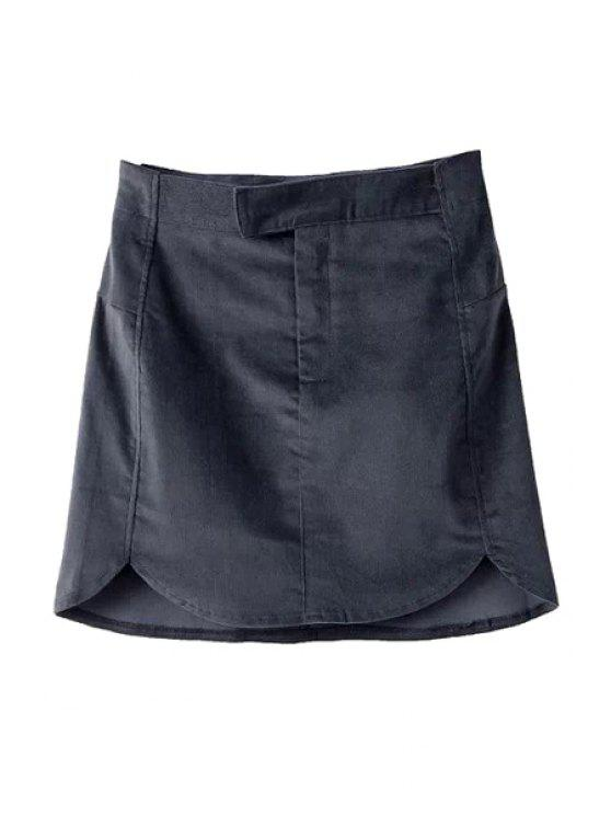shop Solid Color Corduroy Skirt - BLACK S