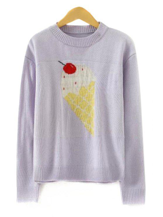latest Ice-Cream Pattern Long Sleeve Sweater - GRAY ONE SIZE(FIT SIZE XS TO M)