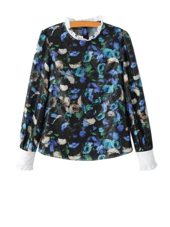 outfits Ruffles Splicing Floral Print Blouse - BLUE S