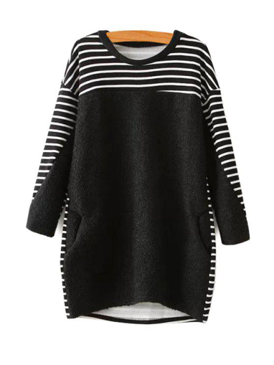 shop Striped Splicing Long Sleeve Sweatshirt - BLACK ONE SIZE(FIT SIZE XS TO M)
