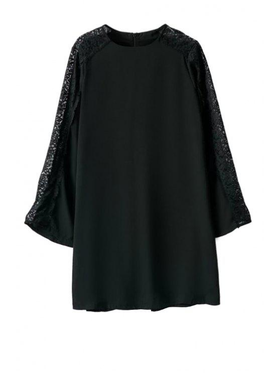 online Lace Splicing Long Sleeves Black Dress - BLACK S