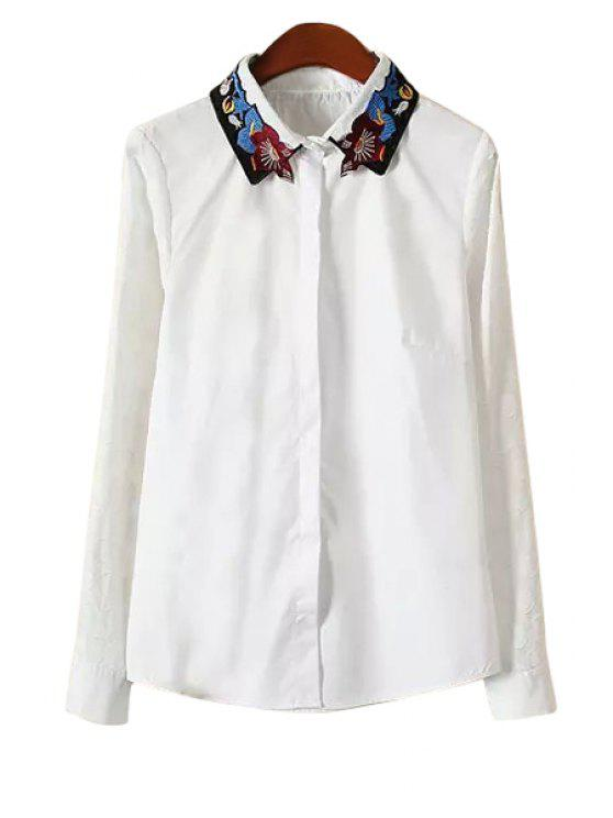 sale Embroidery Turn-Down Collar Jacket - WHITE S