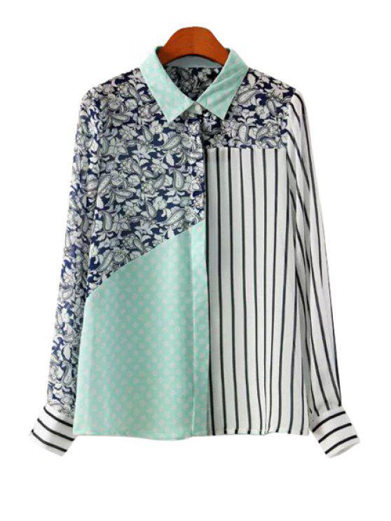 women Striped Polka Dot Print Splicing Shirt - COLORMIX S