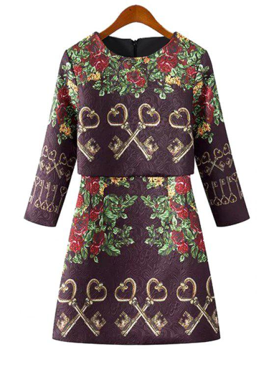 fashion Floral and Key Print 3/4 Sleeve Dress - PURPLE S
