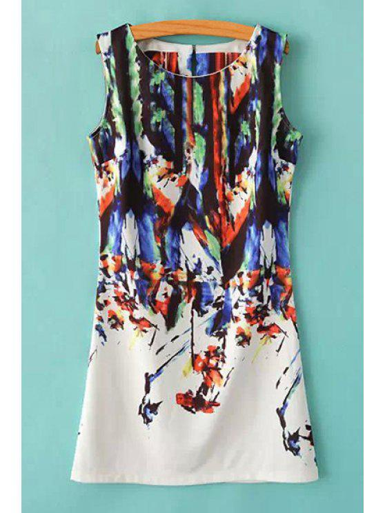 lady Scoop Neck Abstract Print Sundress - COLORMIX S