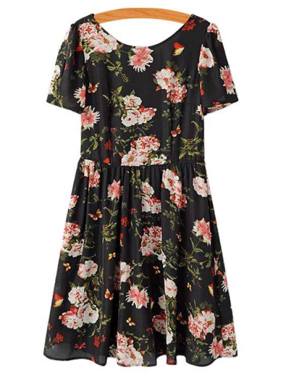 shop Floral Short Sleeve Chiffon Dress - BLACK S