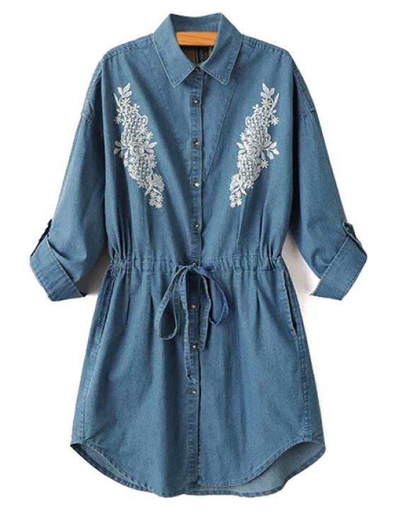 fancy Embroidery Shirt Collar Denim Dress - BLUE S