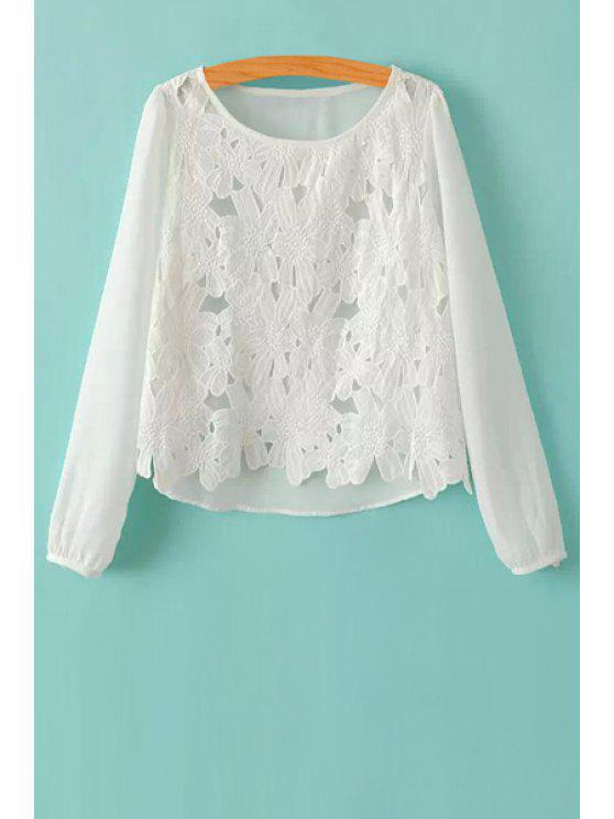 lady Crochet Flower Splicing Chiffon Blouse - WHITE S