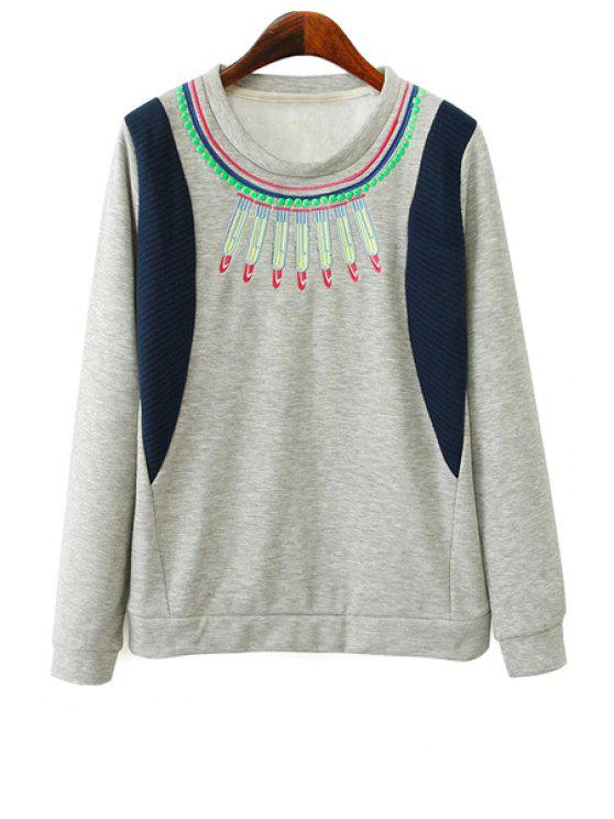 trendy Embroidery Long Sleeves Sweatshirt - GRAY S