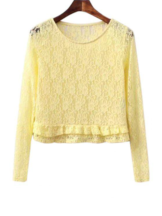 new Lace Ruffled Long Sleeve Blouse - YELLOW S