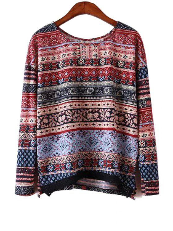 chic Ethnic Print Long Sleeve Blouse - COLORMIX S