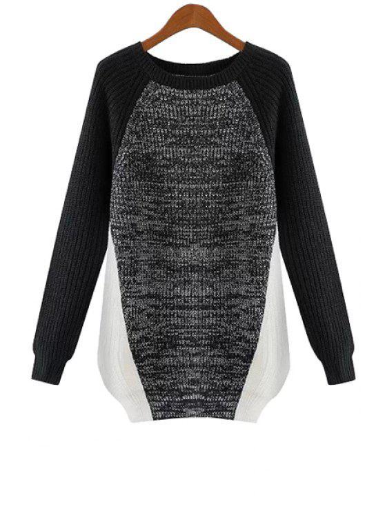 sale Color Block Raglan Sleeve Sweater - GRAY M