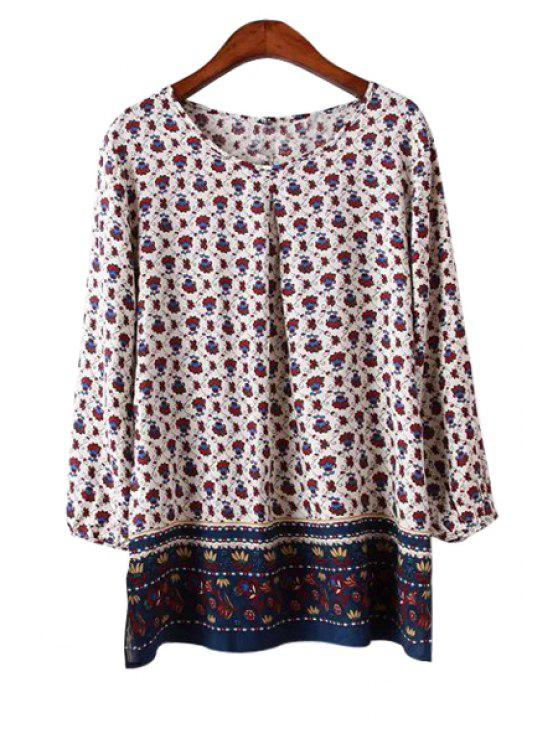 online Retro Print Nine-Minute Sleeve Blouse - COLORMIX S