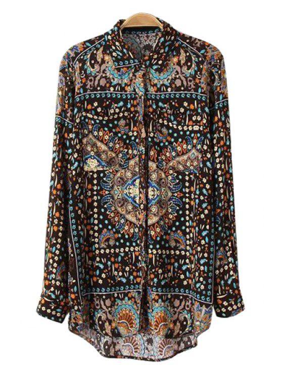 outfit Retro Tiny Floral Print Shirt - COLORMIX S