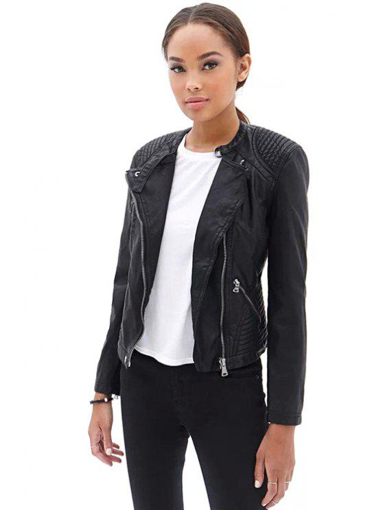 lady PU Leather Black Zipper Jacket - BLACK S