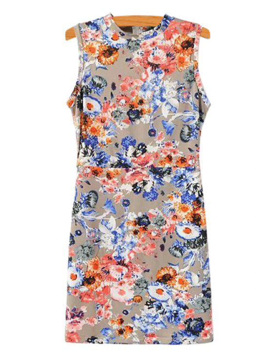 womens Floral Print Slimming Sundress - COLORMIX S