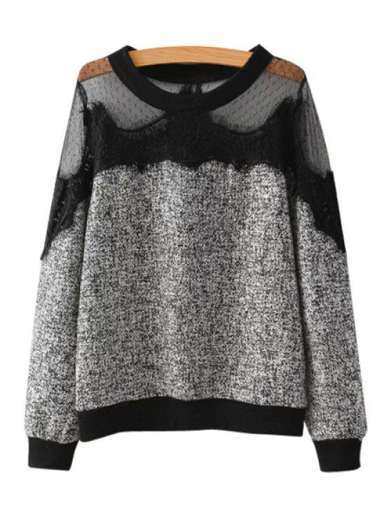 ladies Lace Splicing Scoop Neck Knitwear - GRAY S