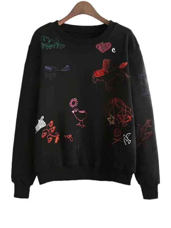 ladies Long Sleeves Embroidery Sweatshirt - BLACK S