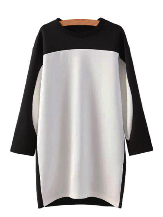 sale Round Neck Color Block Dress - WHITE S