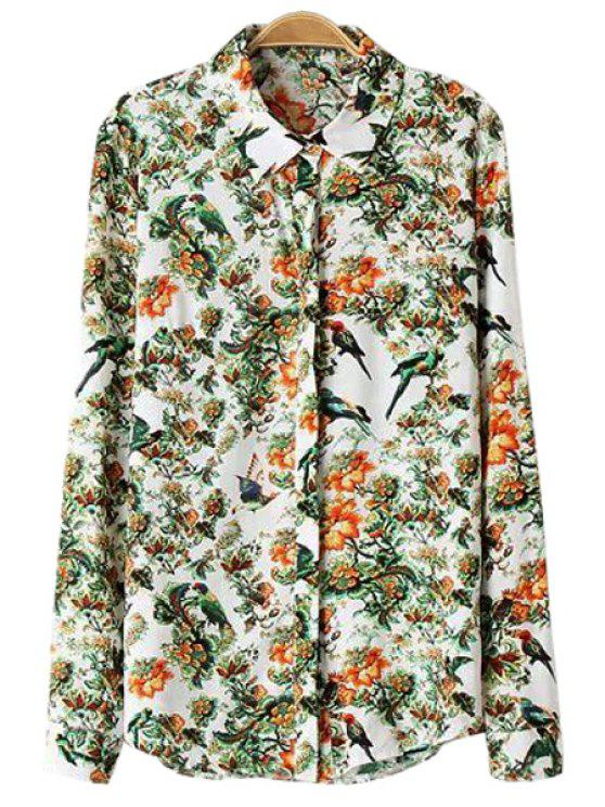 fancy Shirt Collar Floral and Bird Print Shirt - COLORMIX S
