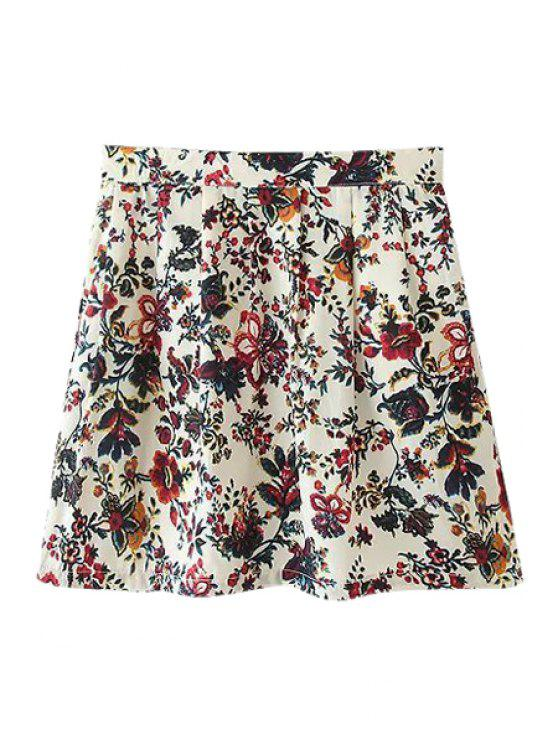 fashion A-Line Tiny Floral Print Skirt - COLORMIX S